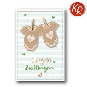 Faltkarte Geburt Zwillinge 30-0164