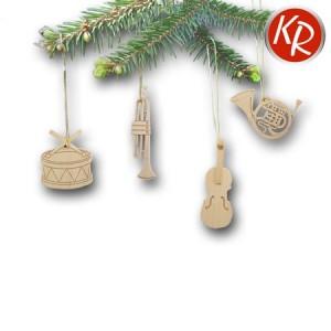 4er-Set Baumschmuck Instrumente 3536