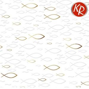Geschenkpapier Fische gold  70-0059