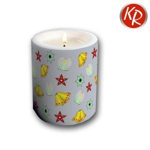 Kerze Weihnachtsornamente grau  72-0068
